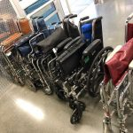 Wheel chairs waiting to be loaded